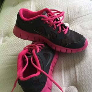 Pink and gray Nike sneakers